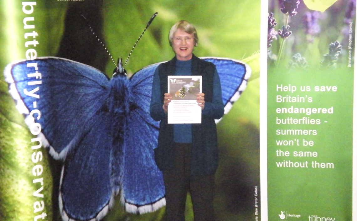 Margaret Vickery awarded Outstanding Volunteer Award by Butterfly Conservation.